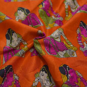 Orange-Purple and Green Bride Design Kalamkari Manipuri Silk-16103