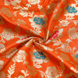 Orange Red and Golden Floral Brocade Silk Fabric-12265