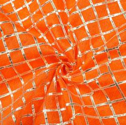 Orange Silver Checks Gota Brocade Silk Fabric-12291