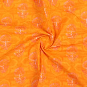 Orange White Block Print Cotton Fabric-14820