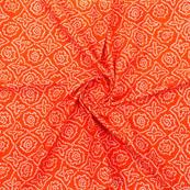 Orange White Block Print Cotton Fabric-14874