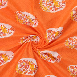 Orange White Block Print Cotton Fabric-16047