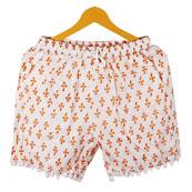 Orange White Flower Cotton Block Print Short-14659
