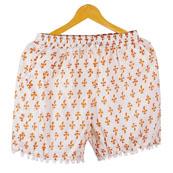 Orange White Flower Cotton Block Print Short-14666