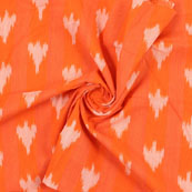 Orange White Ikat Cotton Fabric-12197