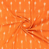 Orange White Ikat Cotton Fabric-12308