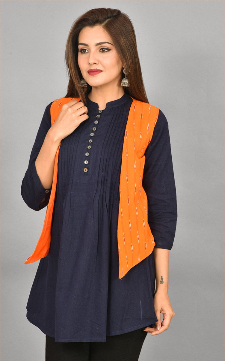 Orange White Ikat Cotton Koti Jacket-36285