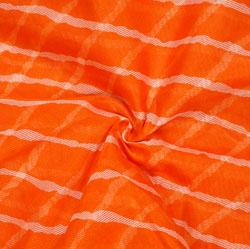 Orange White Leheriya Cotton Fabric-28074