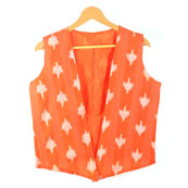 Orange White Sleeveless Ikat Cotton koti jacket-12253