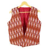Orange White Sleeveless Ikat Cotton koti jacket-12280