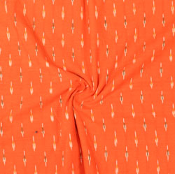 Orange White and Black Ikat Cotton Fabric-11036