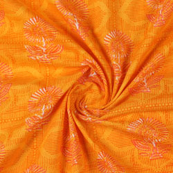 Orange Yellow Block Print Cotton Fabric-16041