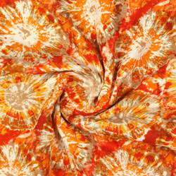 Orange Yellow Block Print Rayon Fabric-16073