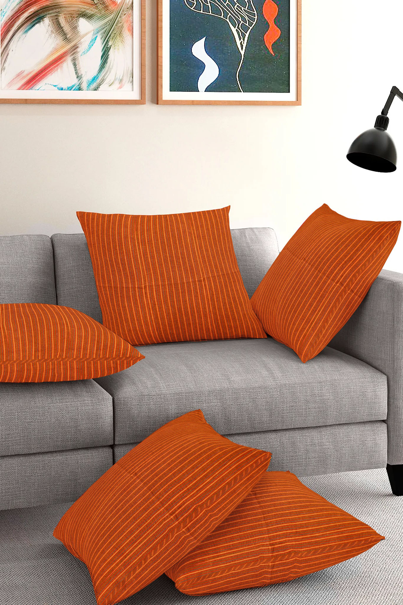Set of 5-Orange Yellow Cotton Cushion Cover-35378-16x16 Inches