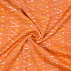 Orange Yellow Ikat Rayon Fabric-16234