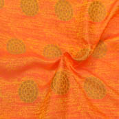 Orange-Yellow and Golden Floral Design Soft Brocade Silk Fabric-8111