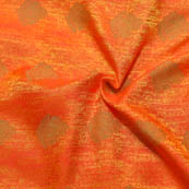 Orange-Yellow and Golden Leaf Design Soft Brocade Silk Fabric-8107