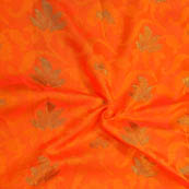 Orange-Yellow and Golden Leaf Pattern Soft Brocade Silk Fabric-8120