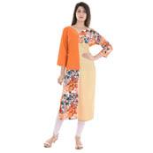 Orange and Beige 3/4 Sleeve Appilque Work Rayon Kurti-3064