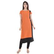 Orange and Black Cap Sleeve A Line Rayon Kurti-3005