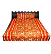Orange and Cream  Print Cotton Double Bed Sheet -0JBR01