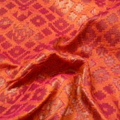 Orange and Gold Unique Design Brocade Silk Fabric-5404
