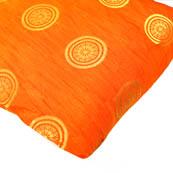 Orange and Golden Circular Design Brocade Silk Fabric-8163