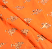 Orange and Golden Dancing Mudra Jam Cotton Silk Fabric-75154
