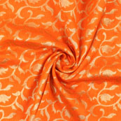 Orange and Golden Floral Brocade Silk Fabric-8892