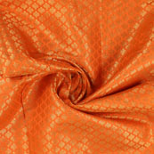 Orange and Golden Floral Brocade Silk Fabric-8940
