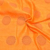 Orange and Golden Floral Design Soft Brocade Silk Fabric-8106