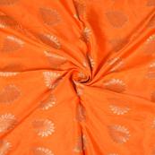 Orange and Golden Floral Design Two Tone Banarasi Silk Fabric-8437