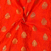 Orange and Golden Floral Shape Soft Brocade Silk Fabric-8118