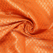 Orange and Golden Flower Brocade Silk Fabric-8921