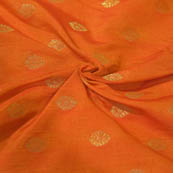 Orange and Golden Flower Pattern Brocade Silk Fabric-8057
