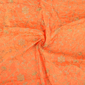 Orange and Golden Leaf Design Paper Silk Embroidery Fabric-60608