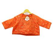 Orange and Golden Leaf Silk Brocade Blouse-30105