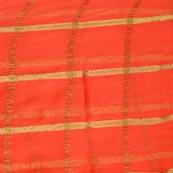 Orange and Golden Lining Pattern Chiffon Fabric-4360