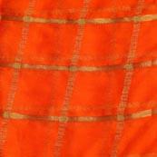 Orange and Golden Lining Pattern Chiffon Fabric-4365