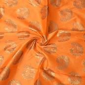 Orange and Golden Paisley Design Two Tone Banarasi Silk Fabric-8440