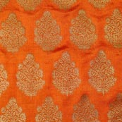 Orange and Golden Plant Pattern Brocade Fabric-4284