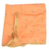 Orange Golden Polka Embroidery Chiffon Georgette Fabric-60382