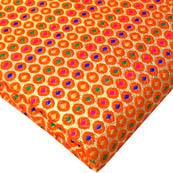 Orange and Golden Polka Pattern Brocade Silk Fabric-8178