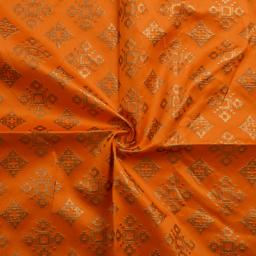 Orange and Golden Square Design Silk Brocade Fabric-8368