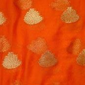 Orange and Golden Tree Pattern Chiffon Fabric-4347