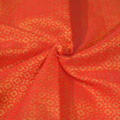 Orange and Golden Unique Shape Brocade Silk Fabric-8062