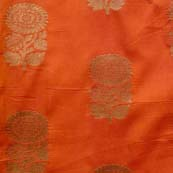 Orange and Golden Zari Flower Brocade Silk Fabric by the yard