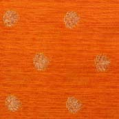 Orange and Golden Zari Flower Pattern Brocade Silk Fabric by the yard