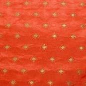 Orange and Golden Zari Work Brocade Silk Fabric by the Yard