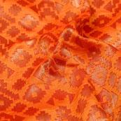 Orange and Golden Zig-Zag Design Brocade Silk Fabric-5340